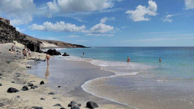 baden Sie am Strand von Las Pilas
